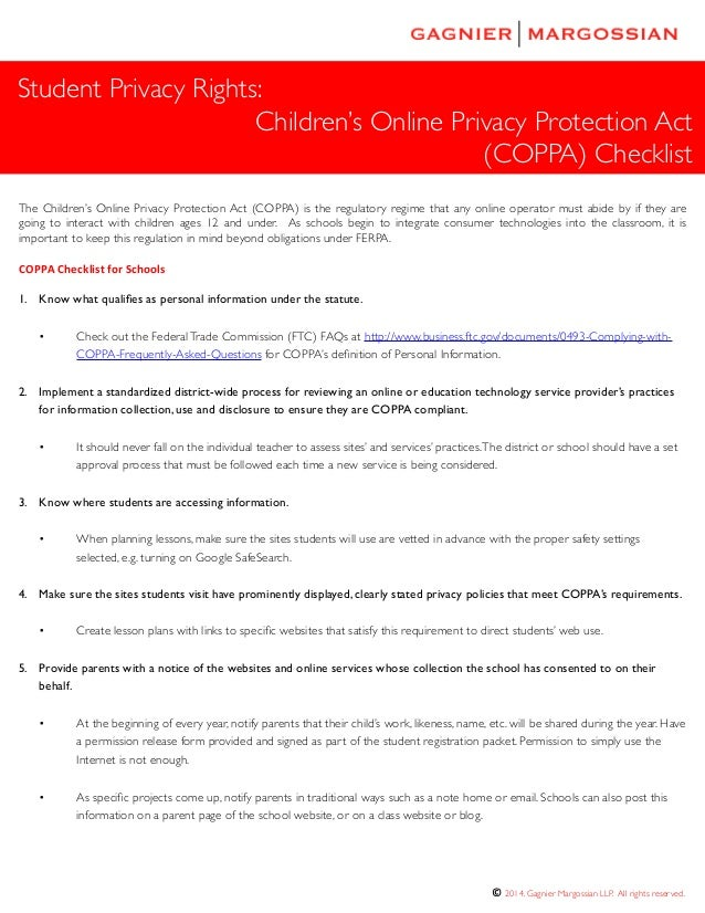 children's online privacy protection act essay Children's internet protection act 2000 bis 220 the children's internet protection act, 2000 the children's internet protection act 2000 is designed to protect.