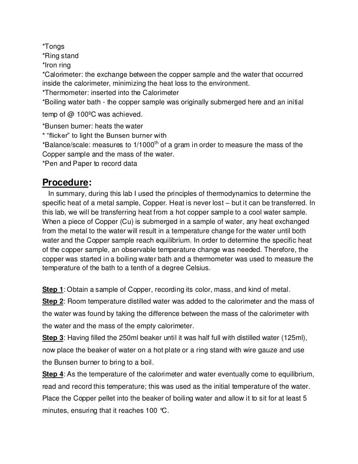 Copper Cycle Lab Report Essay