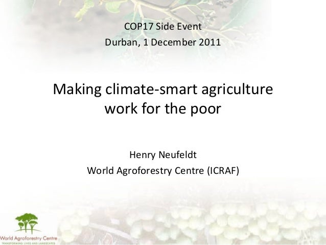 Making climate-smart agriculture work for the poor Henry Neufeldt World Agroforestry Centre (ICRAF) COP17 Side Event Durba...