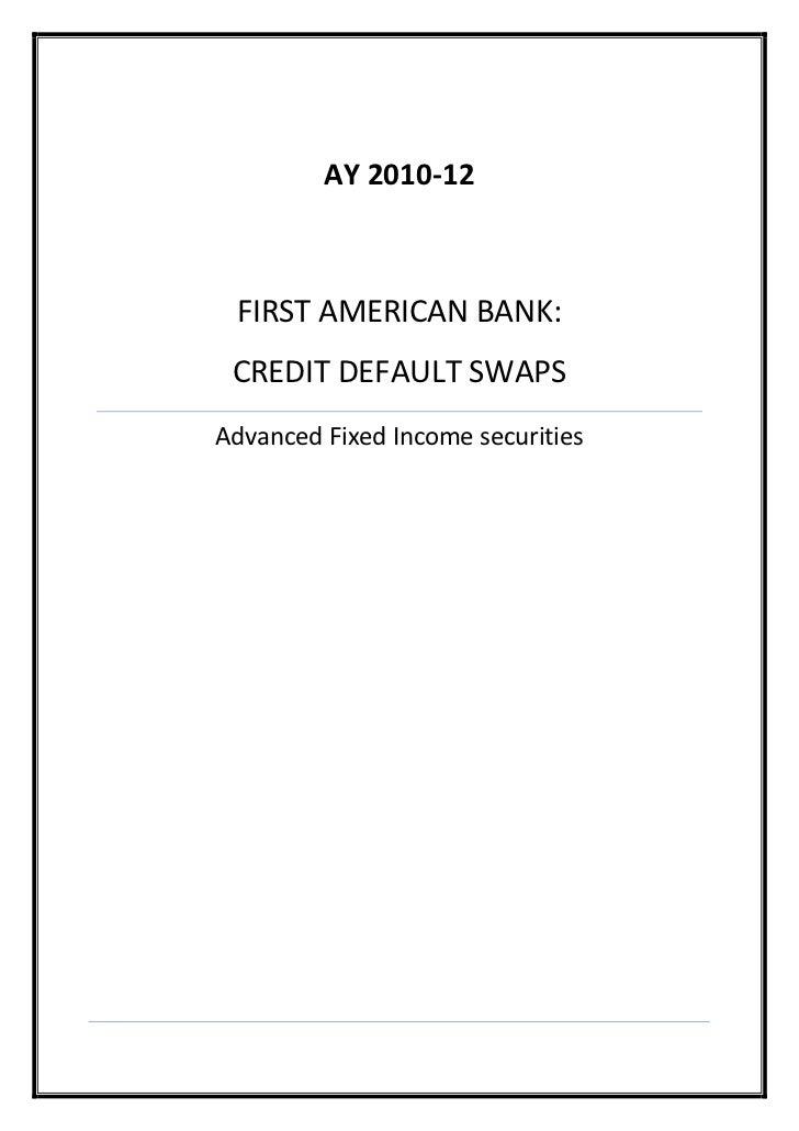 first american bank- credit default swaps