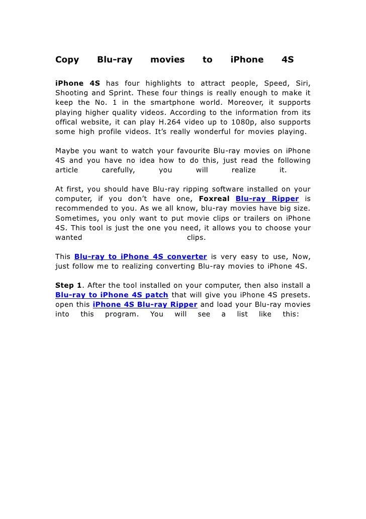 Copy blu ray movies to i phone 4s