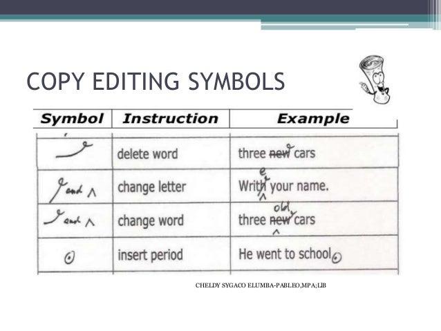 Newspaper editing symbols