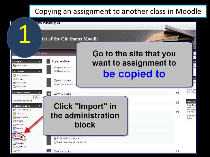Copying an assignment to another class in Moodle   1
