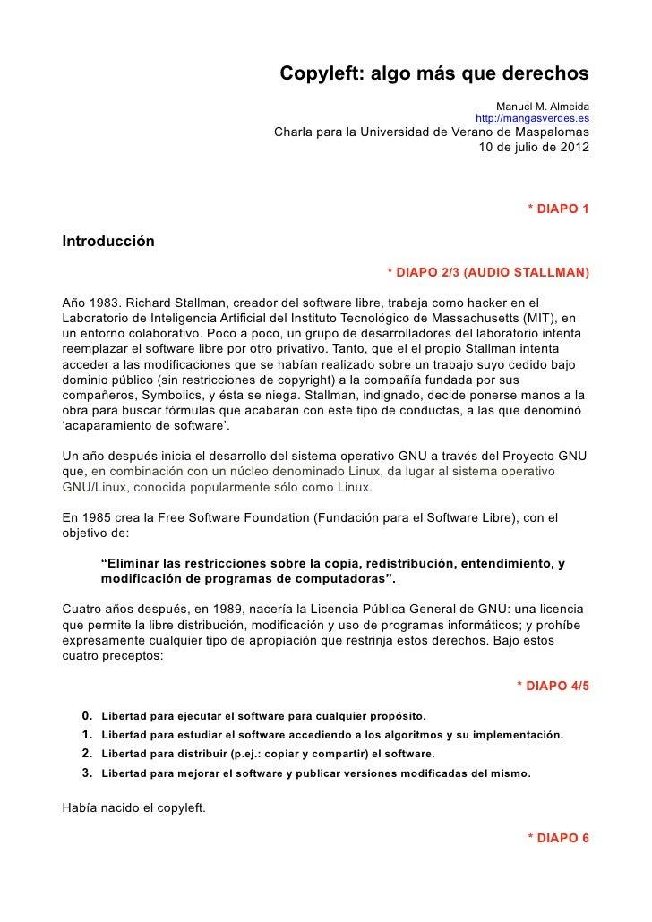 Copyleft: algo más que derechos                                                                                 Manuel M. ...