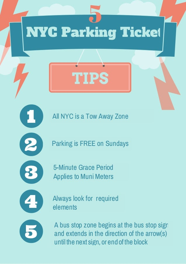 TIPS NYC Parking Ticket Parking is FREE on Sundays 5-Minute Grace Period Applies to Muni Meters Always look for required e...