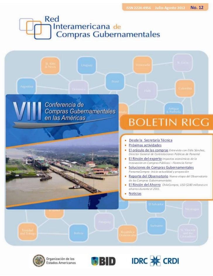 ISSN 2224-4956      Julio-Agosto 2012          No. 12 Desde la Secretaría Técnica H Próximas actividades El oráculo de las...
