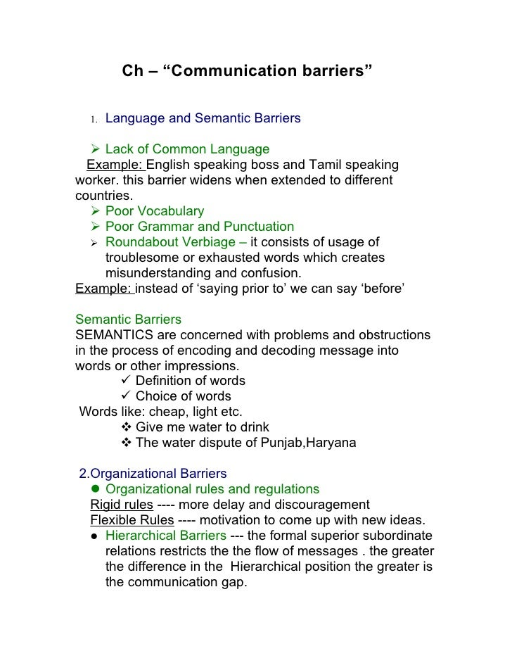 """Ch – """"Communication barriers""""    1.   Language and Semantic Barriers     Lack of Common Language   Example: English speak..."""