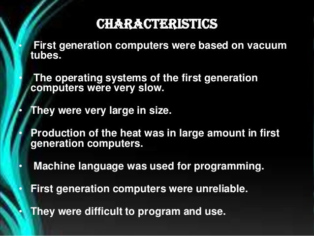 First Generation Computer Diagram First Generation Computer