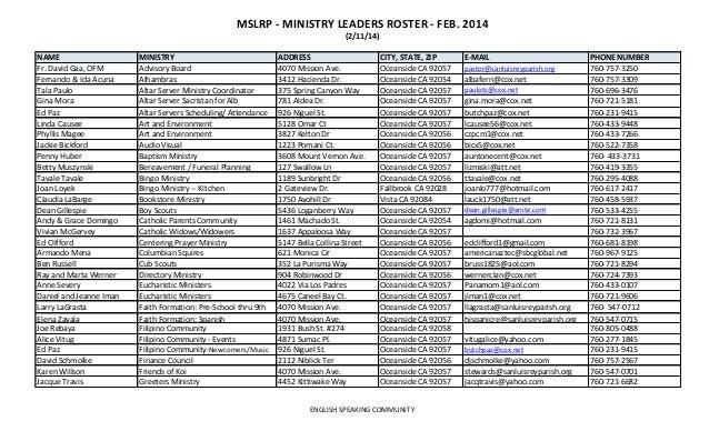 MSLRP - MINISTRY LEADERS ROSTER - FEB. 2014 (2/11/14) NAME Fr. David Gaa, OFM Fernando & Ida Acuna Tala Paulo Gina Mora Ed...