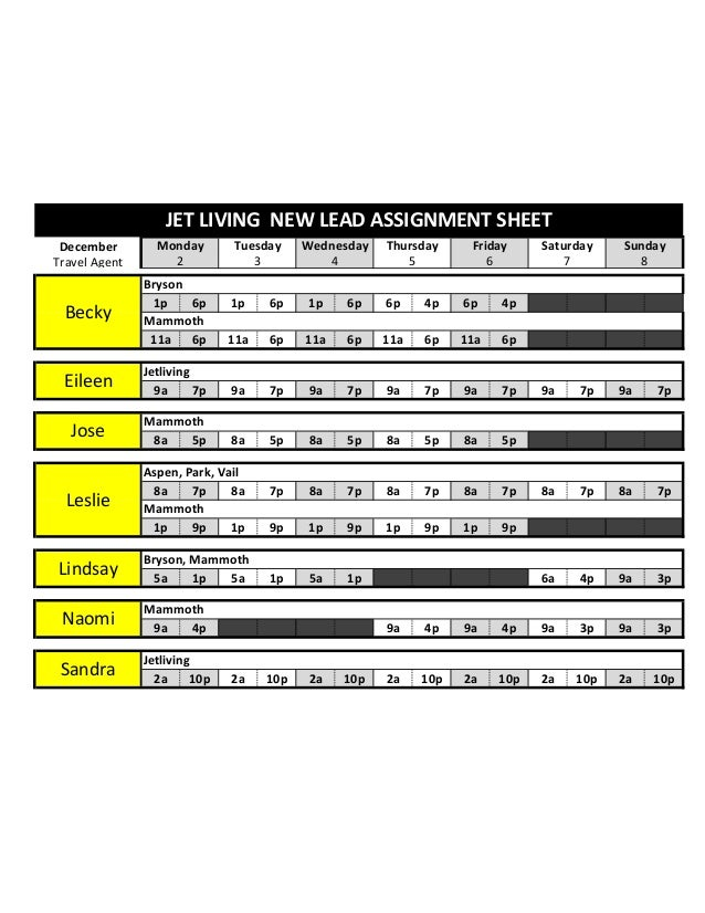 JET LIVING NEW LEAD ASSIGNMENT SHEET December Travel Agent  Monday 2  Tuesday 3  Wednesday 4  Thursday 5  Friday 6  Bryson...