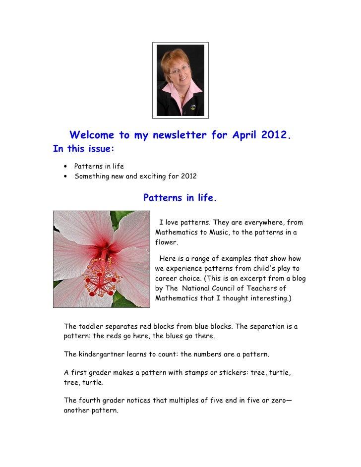 Hilary's April 2012 Newsletter - Patterns