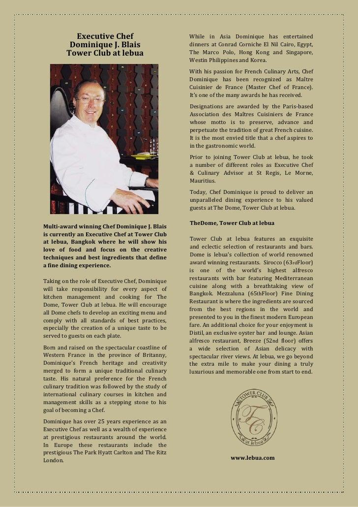 While in Asia Dominique has entertained                                                   dinners at Conrad Corniche El Ni...