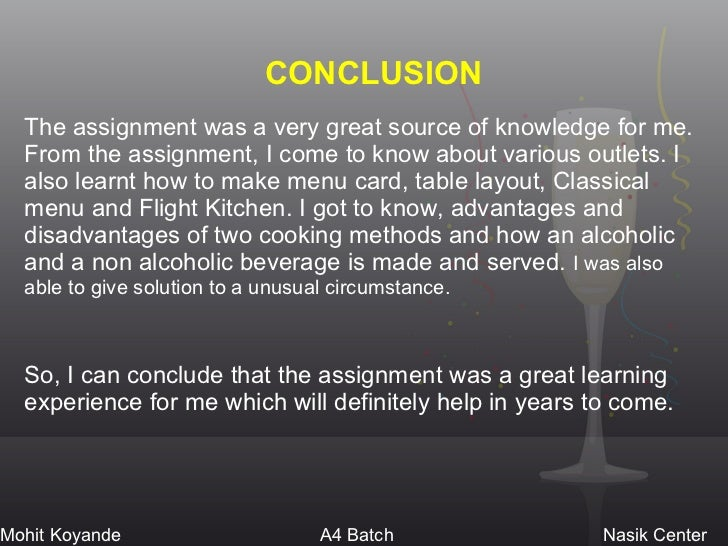 Conclusion of assignment