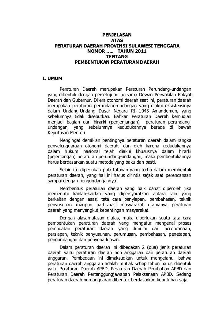 PENJELASAN                        ATAS    PERATURAN DAERAH PROVINSI SULAWESI TENGGARA               NOMOR ….. TAHUN 2011  ...