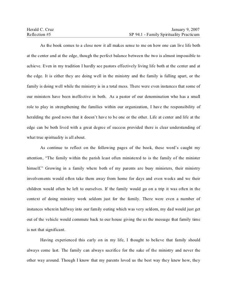 Herald C. Cruz                                                                     January 9, 2007 Reflection #5          ...