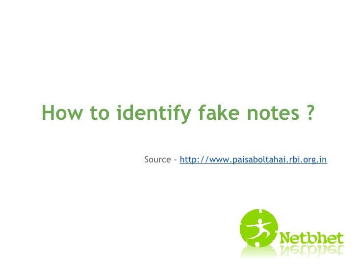 how to identify fake notes