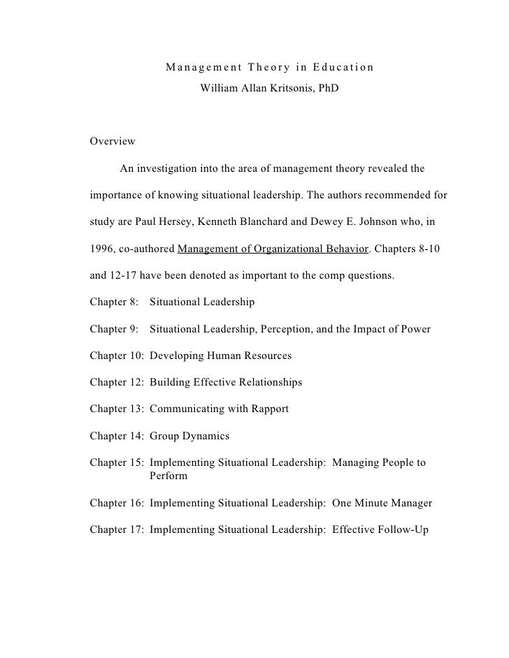 Management Theory in Education                      William Allan Kritsonis, PhDOverview      An investigation into the ar...