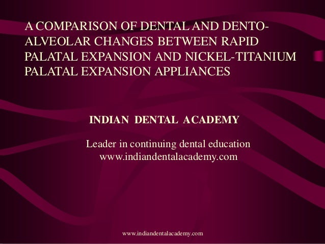 A COMPARISON OF DENTAL AND DENTO- ALVEOLAR CHANGES BETWEEN RAPID PALATAL EXPANSION AND NICKEL-TITANIUM PALATAL EXPANSION A...