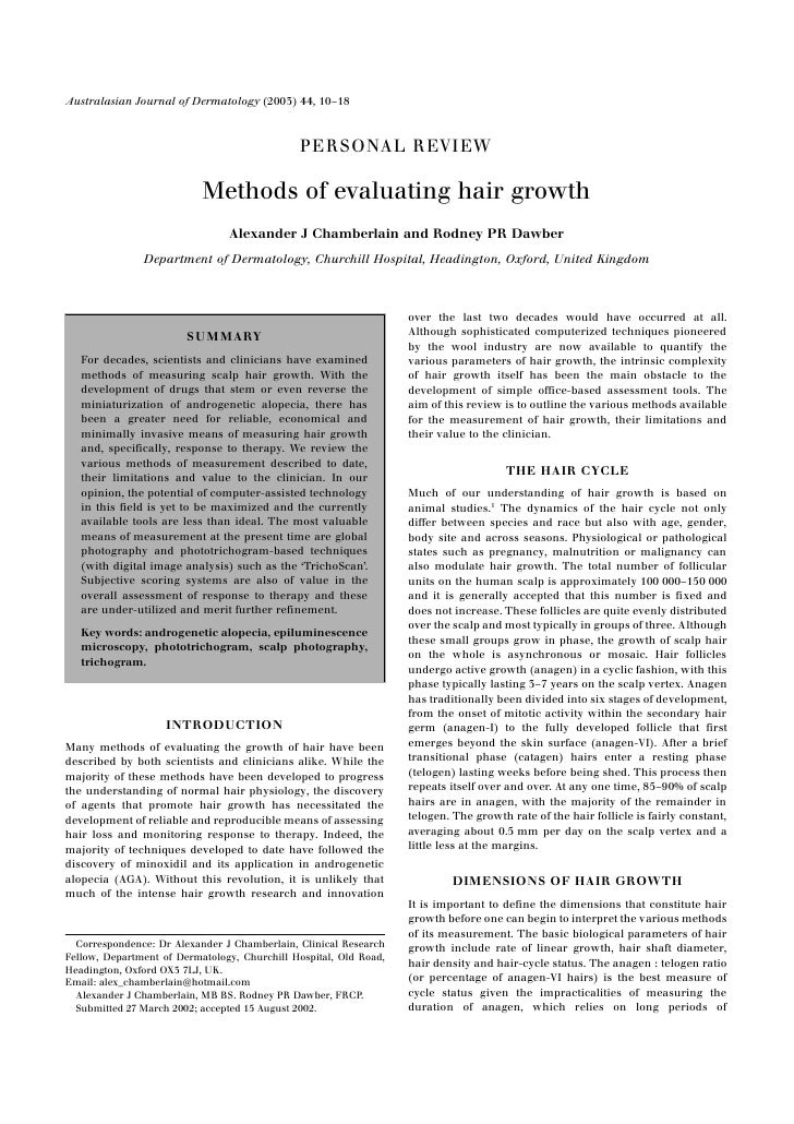 Methods of evaluating hair growth