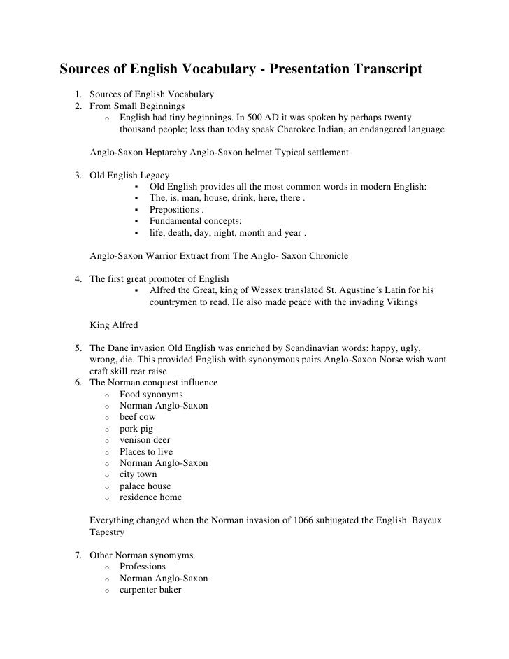 Copy of sources of english vocabulary   presentation transcript