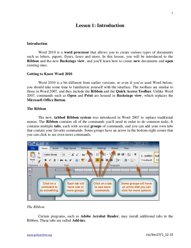 Copy of word 2010 lesson 1   introduction