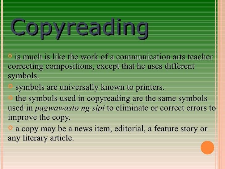 Copy reading symbols in journalism