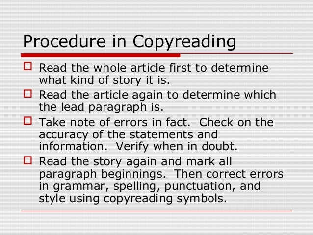 Copy reading symbols in journalism