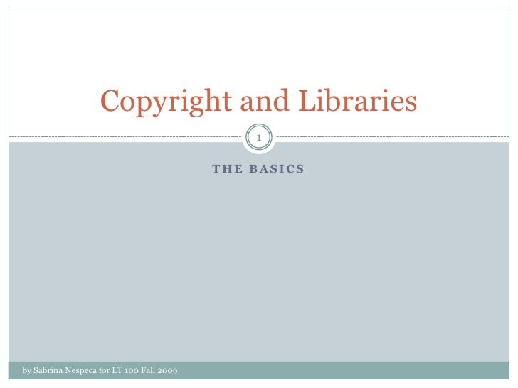 Copyright basics for library staff
