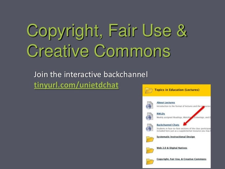 Copyright, Fair Use &Creative Commons Join the interactive backchannel tinyurl.com/unietdchat