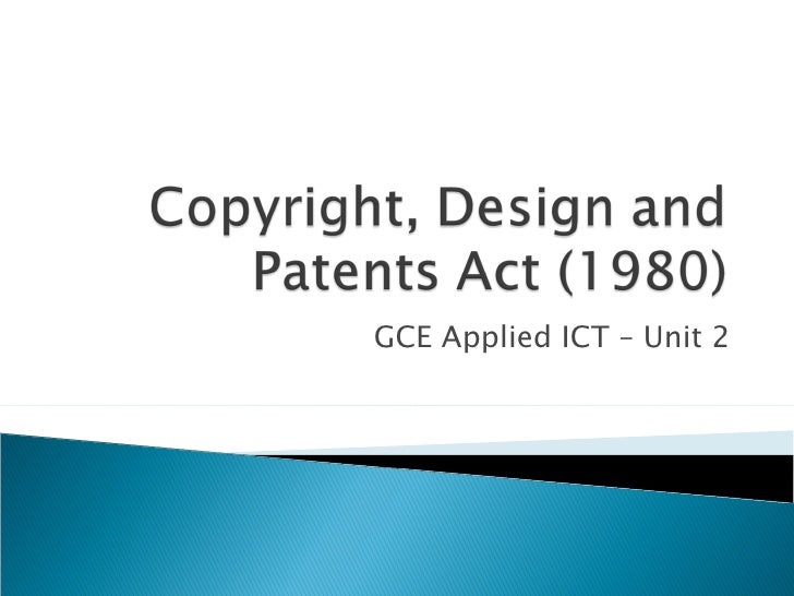 Copyright, Design And Patents Act (1980