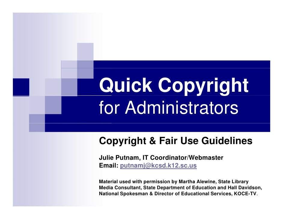 Copyright For Administrators