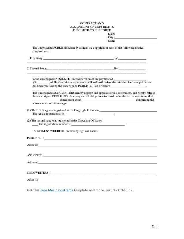 assignment of copyright form music