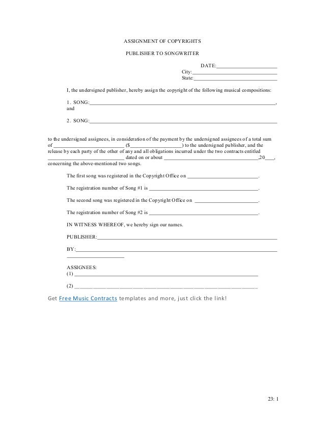 assignment of copyright Short-form copyright assignment sample form [note: this is an all-rights transfer of copyright, ie, assignor relinquishes all rights under copyright].
