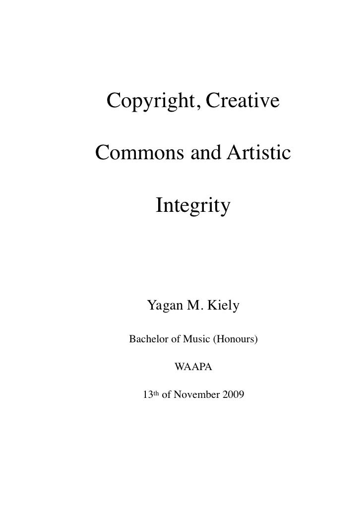 Copyright, creative commons and artistic integrity