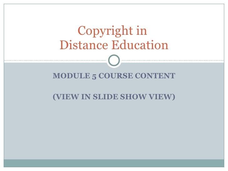 Copyright Distance Education
