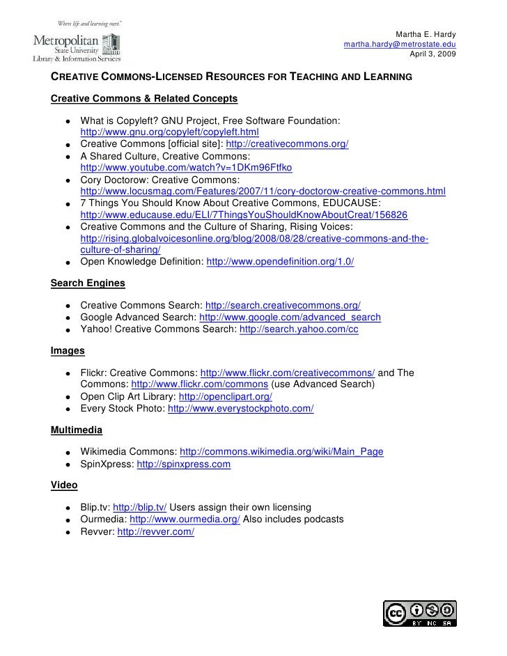 Creative Commons-Licensed Resources for Teaching and Learning