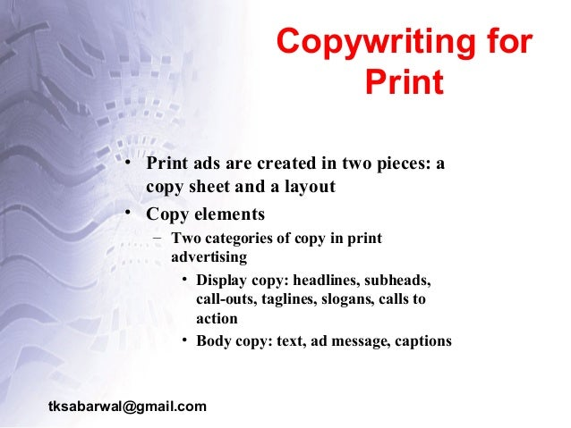 Writing advertising copy