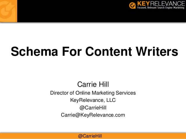 Schema For Content WritersCarrie HillDirector of Online Marketing ServicesKeyRelevance, LLC@CarrieHillCarrie@KeyRelevance....