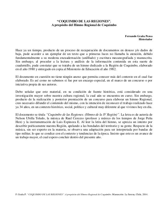 "F. Graña P. ""COQUIMBO DE LAS REGIONES"". A propósito del Himno Regional de Coquimbo. Manuscrito. La Serena, Chile, 2014. ""C..."