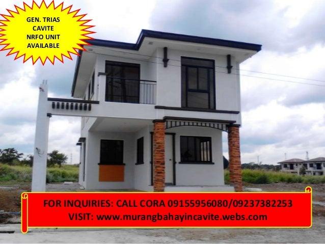 GEN. TRIAS CAVITENRFO UNITAVAILABLE    FOR INQUIRIES: CALL CORA 09155956080/09237382253         VISIT: www.murangbahayinca...
