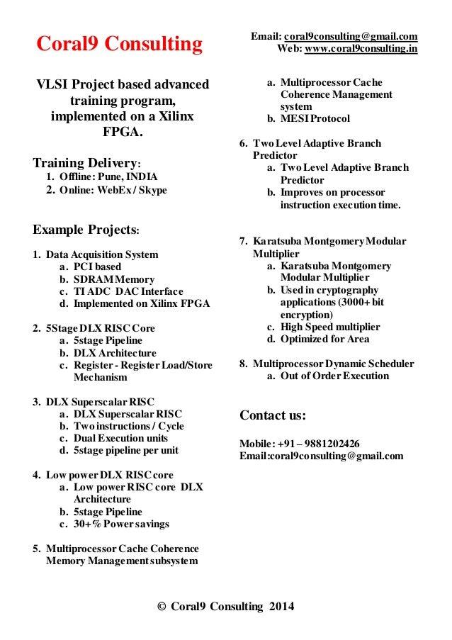 Project Based Training Vlsi / Fpga Project Based