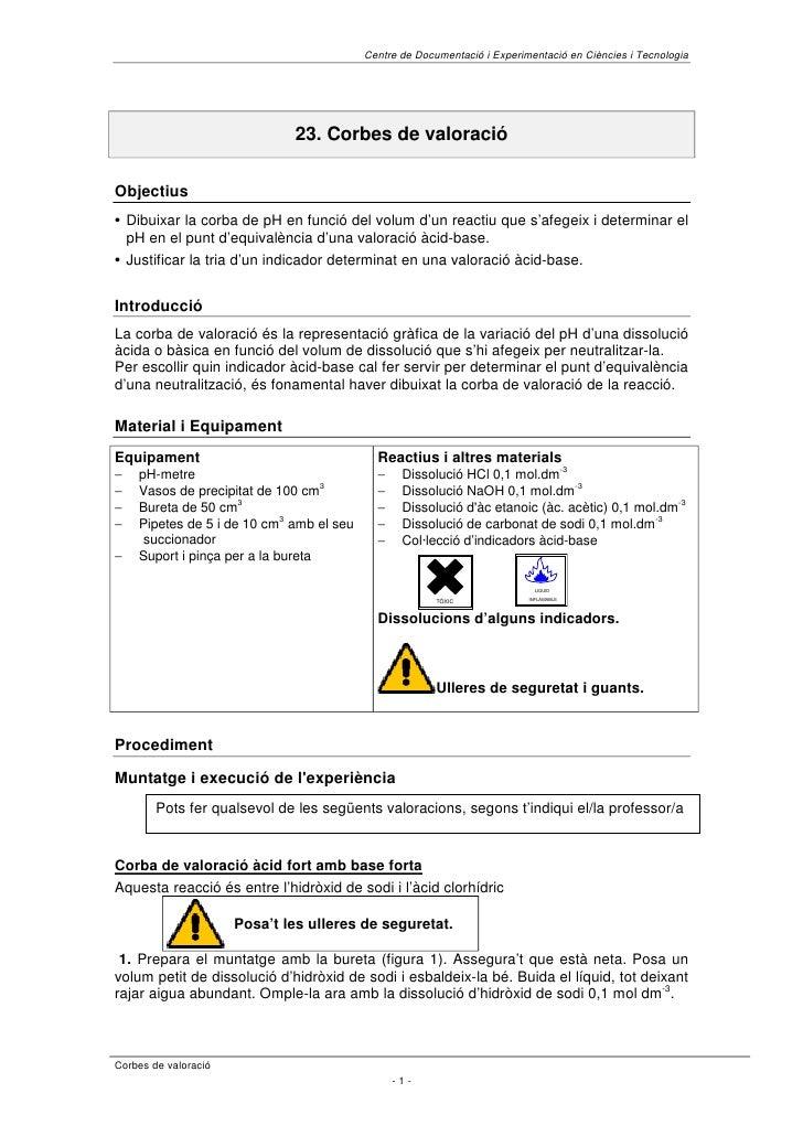 Centre de Documentació i Experimentació en Ciències i Tecnologia                                   23. Corbes de valoració...