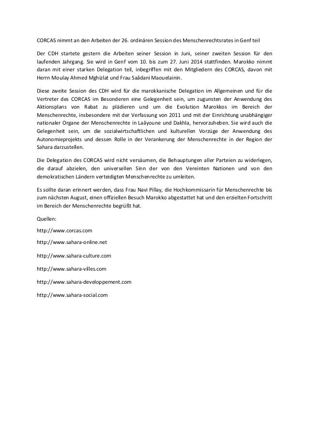 Corcas nimmt an den arbeiten der 26. ordinären session des menschenrechtsrates in genf teil