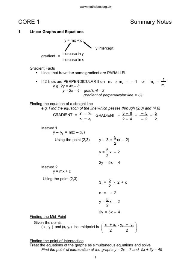 www.mathsbox.org.ukCORE 1 Summary Notes1 Linear Graphs and Equationsy = mx + cgradient =increase in yincrease in xy interc...