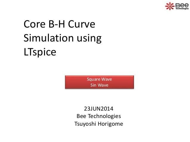 Core B-H Curve Simulation using LTspice 23JUN2014 Bee Technologies Tsuyoshi Horigome Square Wave Sin Wave