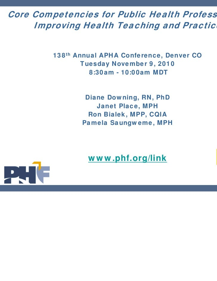 Core Competencies for Public Health Professionals:     Improving Health Teaching and Practice         138th Annual APHA Co...