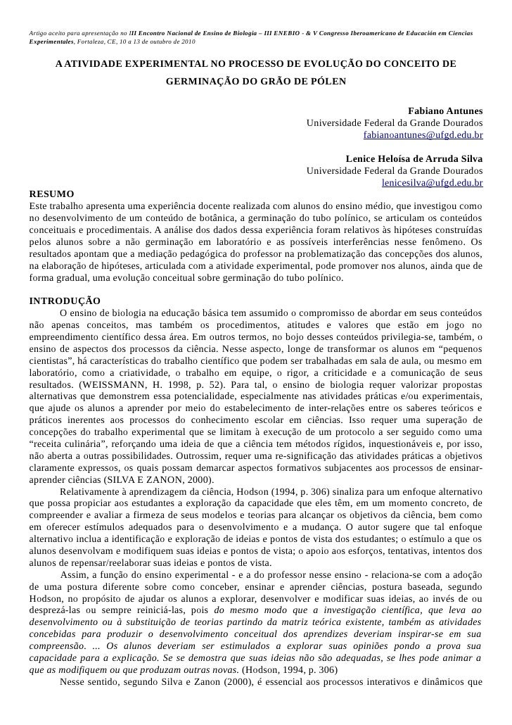 Artigo aceito para apresentação no III Encontro Nacional de Ensino de Biologia – III ENEBIO - & V Congresso Iberoamericano...