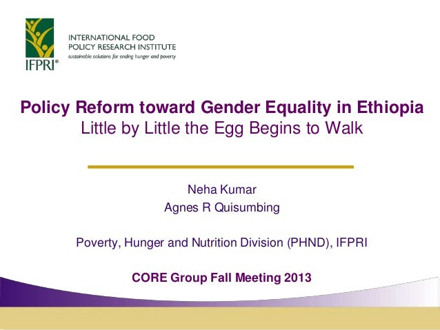 Policy Reform toward Gender Equality in Ethiopia Little by Little the Egg Begins to Walk  Neha Kumar Agnes R Quisumbing Po...