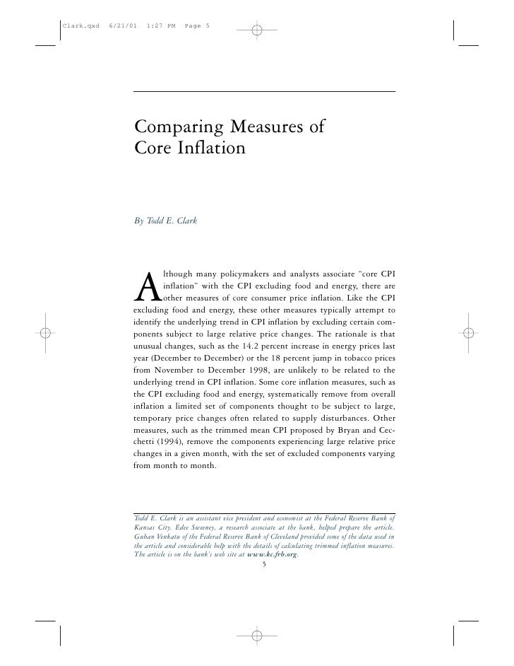 "Comparing Measures of Core Inflation   By Todd E. Clark              lthough many policymakers and analysts associate ""cor..."