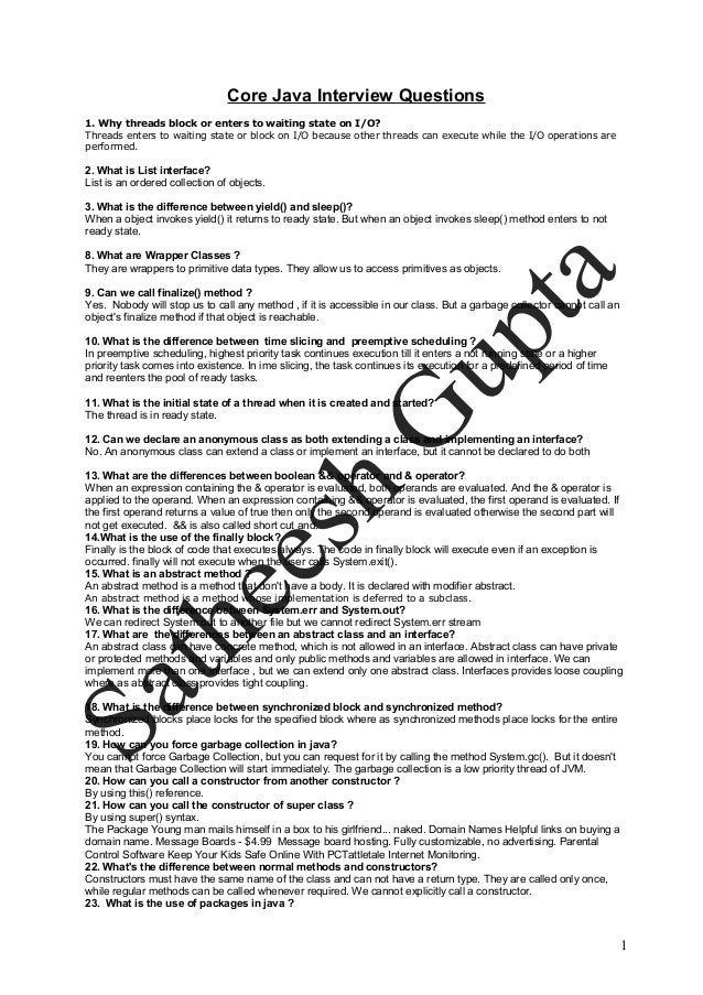 Core java interview questions1